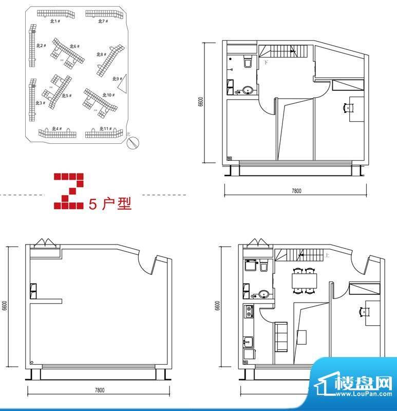 中弘北京像素Z5户型 2室1厅2卫