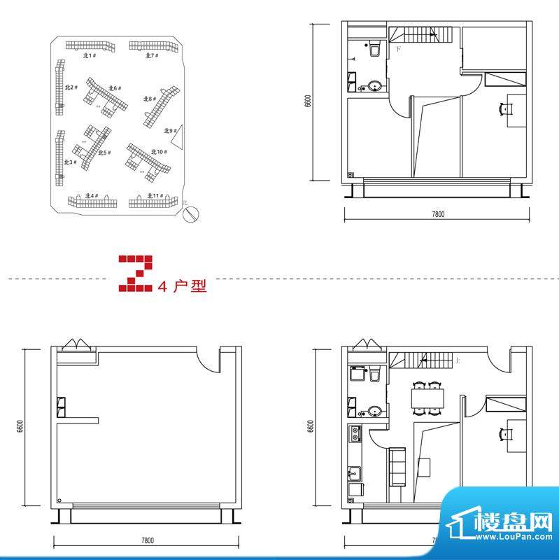 中弘北京像素Z4户型 2室1厅2卫