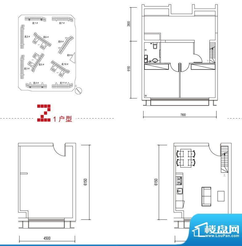 中弘北京像素Z1户型 2室1厅2卫