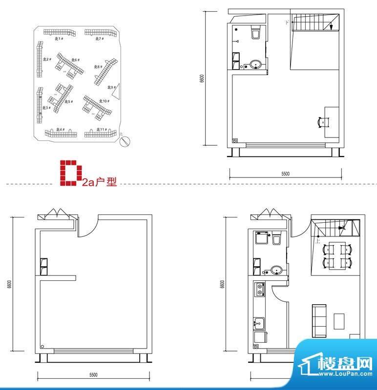 中弘北京像素D2a户型 2室1厅2卫