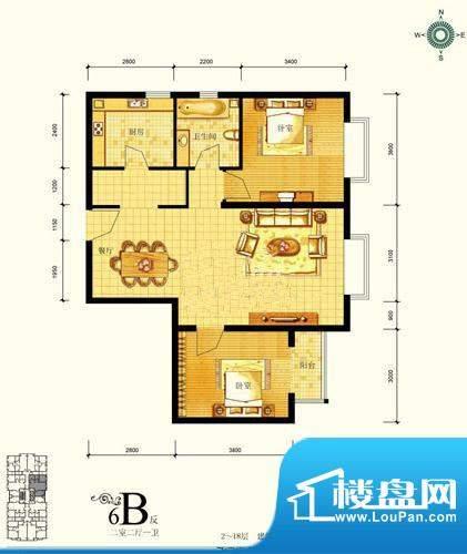 北京风景户型图 2室2厅1卫1厨