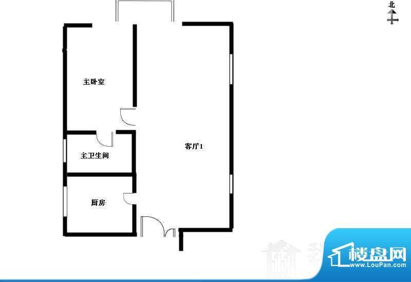 北京风景户型图 1室1厅1卫1厨