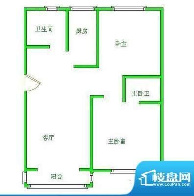 北京风景户型图 2室1厅1卫1厨