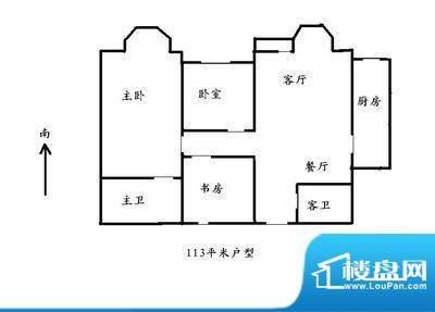 北京风景户型图 3室2厅2卫1厨