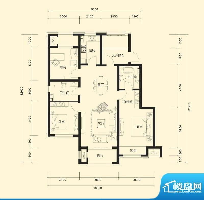 金科廊桥水岸平层户型A 3室2厅面积:112.00平米