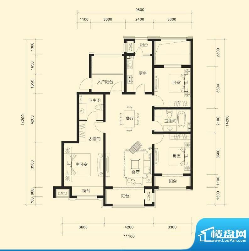 金科廊桥水岸平层户型B 3室2厅面积:128.00平米