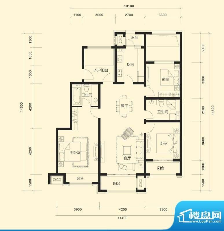 金科廊桥水岸平层户型C 3室2厅面积:135.00平米