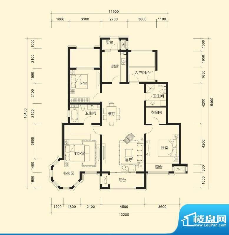 金科廊桥水岸平层户型D 3室2厅面积:155.00平米