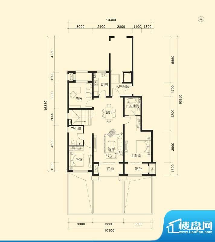 金科廊桥水岸A1跃层户型图 3室面积:125.00平米