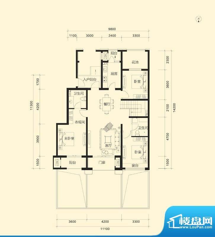 金科廊桥水岸B1跃层户型图 3室面积:125.00平米