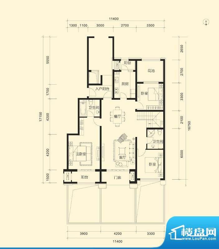 金科廊桥水岸C1跃层 3室2厅2卫面积:147.00平米