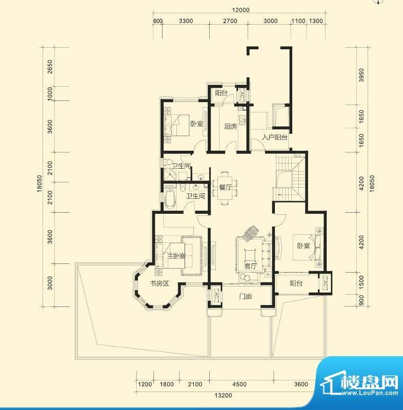 金科廊桥水岸D1跃层 3室2厅2卫面积:216.00平米