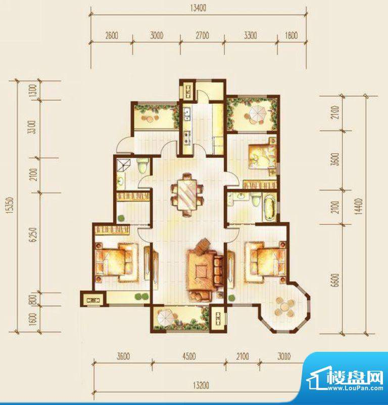 金科廊桥水岸三居室户型图 3室面积:155.00平米
