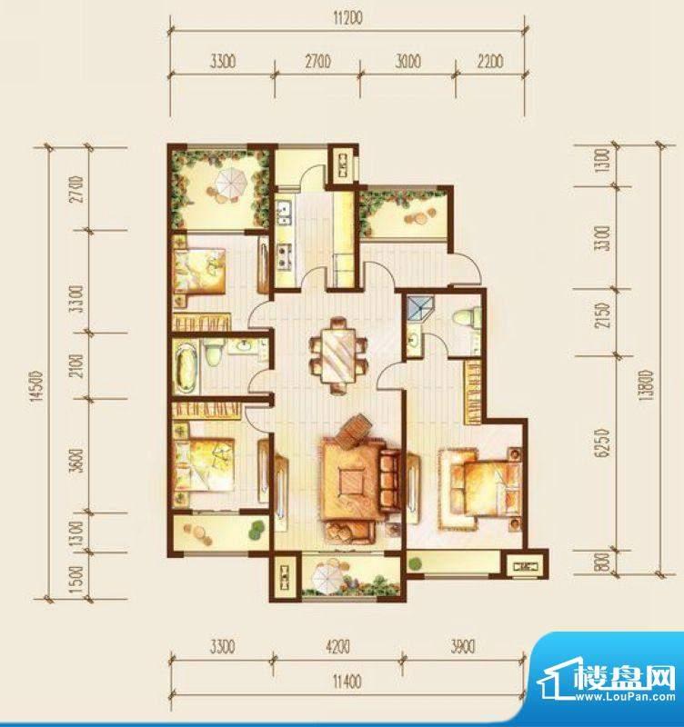 金科廊桥水岸三居室户型图 3室面积:135.00平米