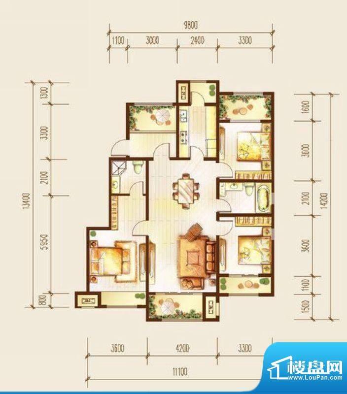 金科廊桥水岸三居室户型图 3室面积:128.00平米