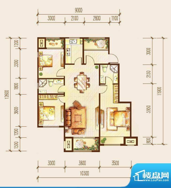 金科廊桥水岸三居室户型图 3室面积:112.00平米