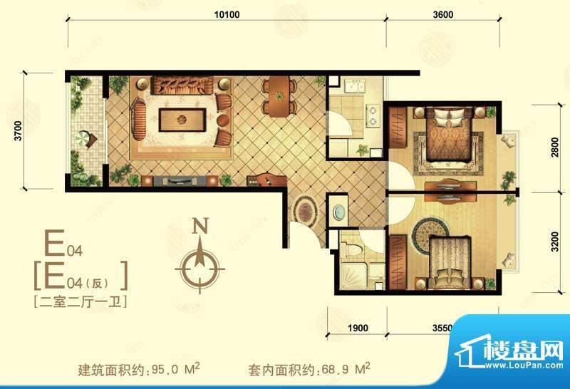 中信城e04 2室2厅1卫1厨面积:95.00平米
