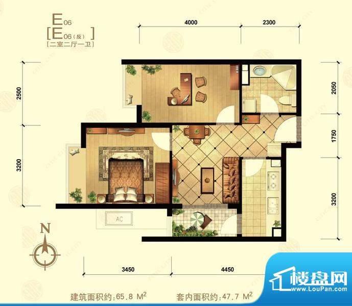 中信城e06 2室2厅1卫1厨面积:65.80平米