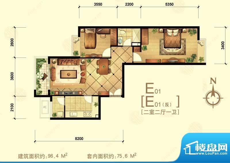 中信城e01 2室2厅1卫1厨面积:96.40平米