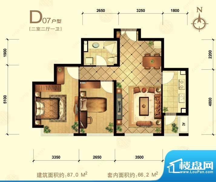 中信城d07 2室2厅1卫1厨面积:87.00平米