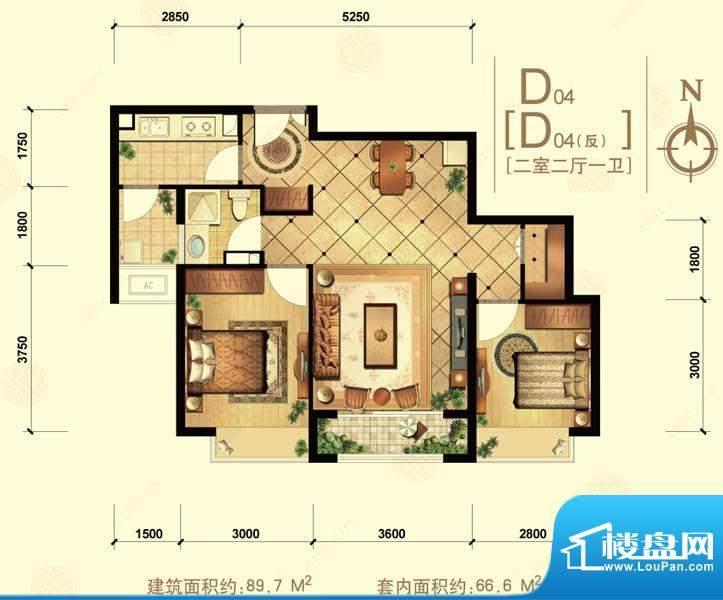 中信城d04 2室2厅1卫1厨面积:89.70平米
