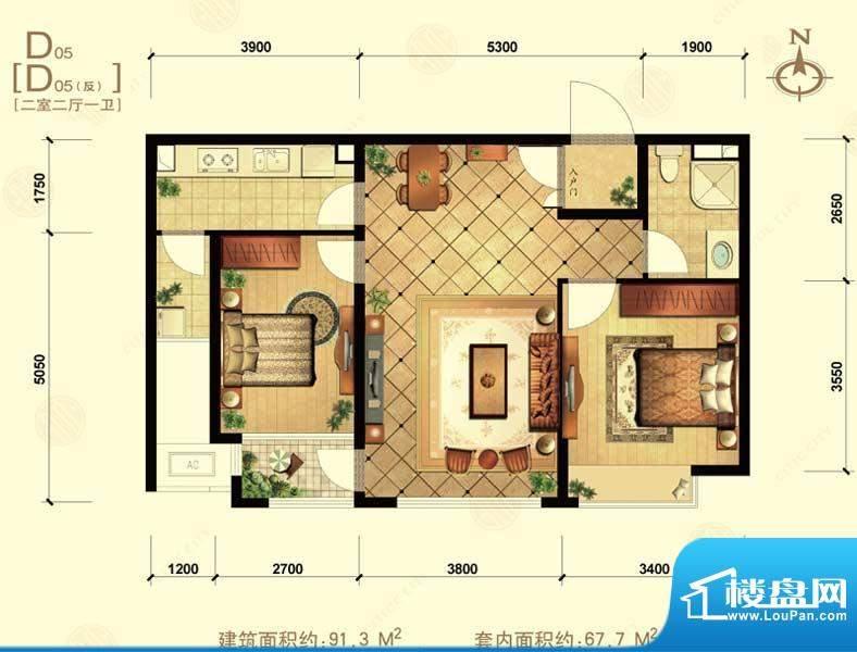 中信城d05 2室2厅1卫1厨面积:91.30平米