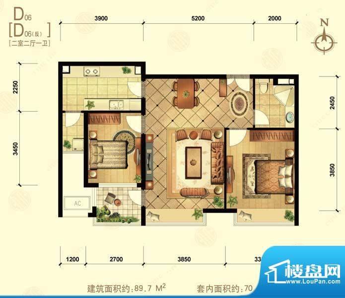 中信城d06 2室2厅1卫1厨面积:89.70平米