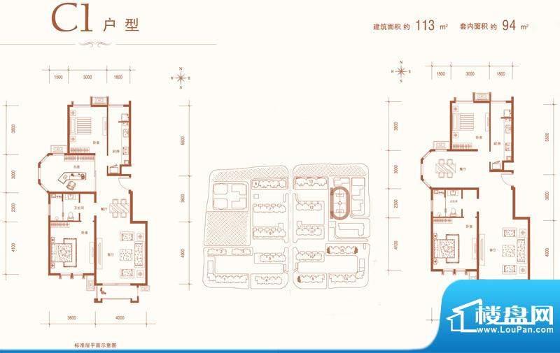 建邦华庭二期12号楼C1户型 3室面积:113.00平米