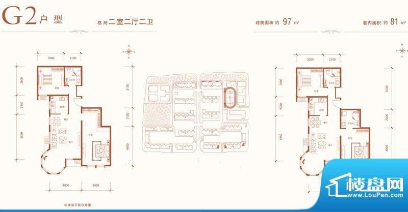 建邦华庭二期G2-02户型 2室2厅面积:97.00平米