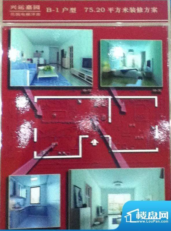 兴运嘉园B-1户型图 1室1厅1卫1面积:75.20平米