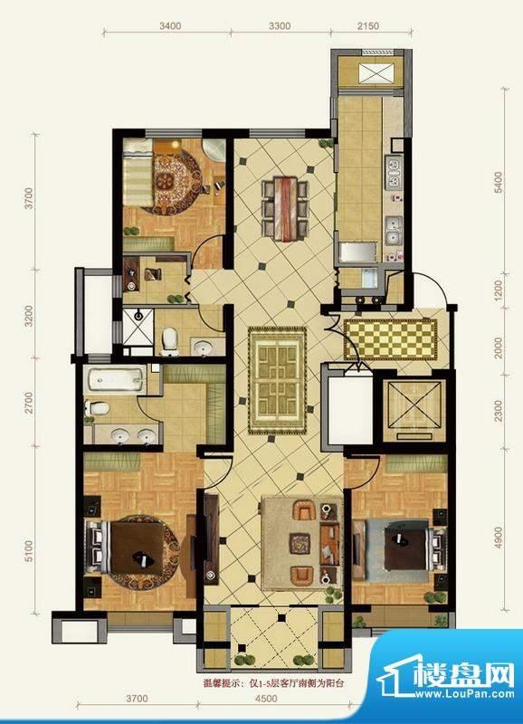 远洋东方公馆3号楼B户型 3室2厅面积:176.00平米