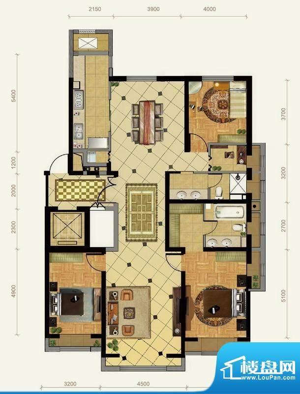 远洋东方公馆3号楼B1户型 3室2面积:190.00平米