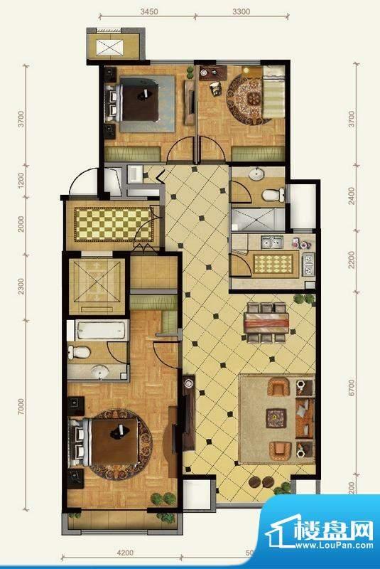 远洋东方公馆3号楼A户型 3室2厅面积:146.00平米