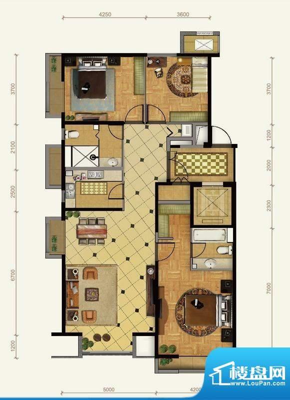 远洋东方公馆3号楼A1户型 3室2面积:154.00平米