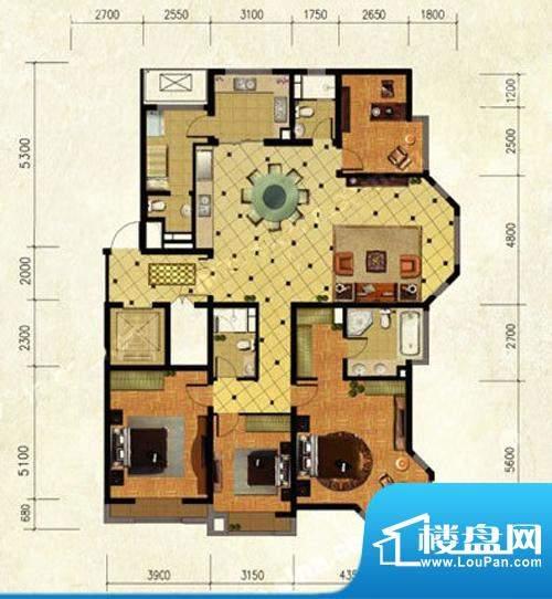 远洋东方公馆四居户型图 4室2厅面积:205.00平米