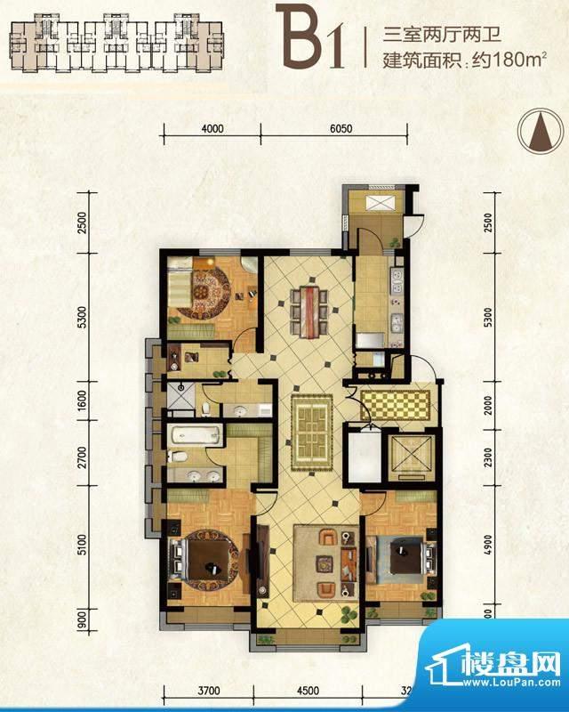 远洋东方公馆B1户型 3室2厅2卫面积:180.00平米