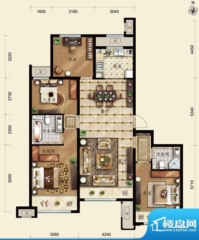 保利春天里D1户型 4室2厅2卫1厨面积:140.00平米