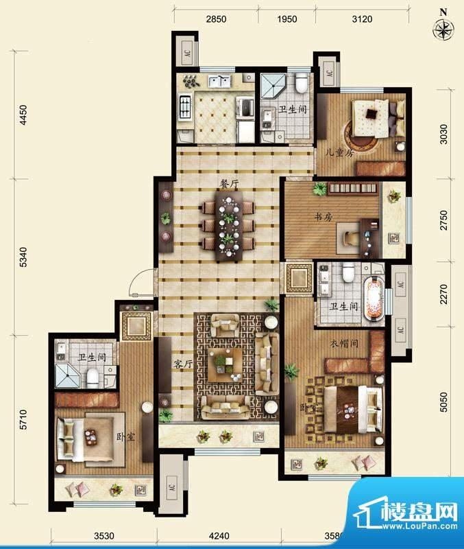 保利春天里D2户型 4室2厅3卫1厨面积:153.00平米
