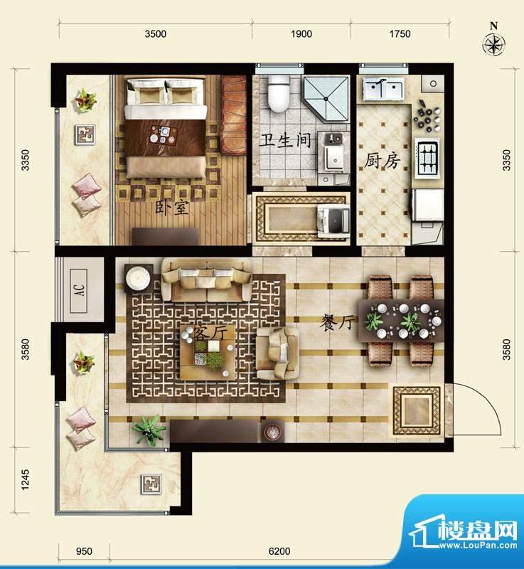 保利春天里A1户型 1室2厅1卫1厨面积:58.00平米