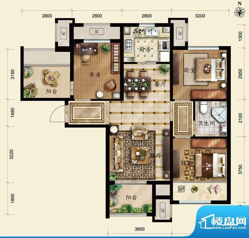 保利春天里C1户型 3室2厅1卫1厨面积:95.00平米