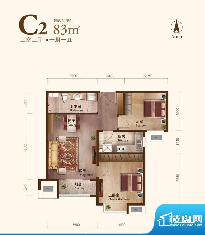 丽景长安C2 2室2厅1卫1厨面积:83.00平米