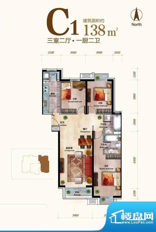 丽景长安C1户型 3室2厅2卫1厨面积:138.00平米