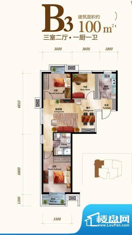 丽景长安B3户型 3室2厅1卫1厨面积:100.00平米