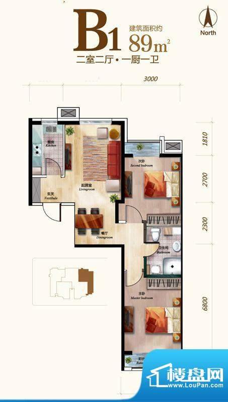 丽景长安B1户型 2室2厅1卫1厨面积:89.00平米