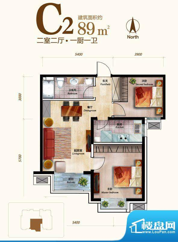 丽景长安C2户型 2室2厅1卫1厨面积:89.00平米