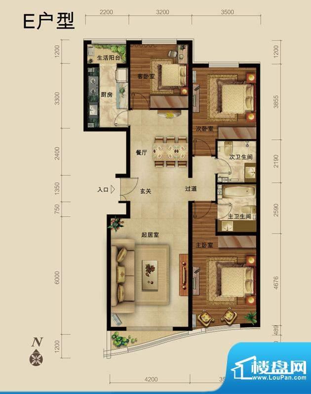 世藏168E户型 3室2厅2卫1厨面积:138.00平米