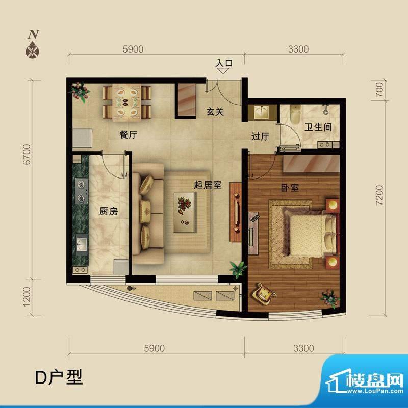 世藏168D户型 1室2厅1卫1厨面积:78.00平米