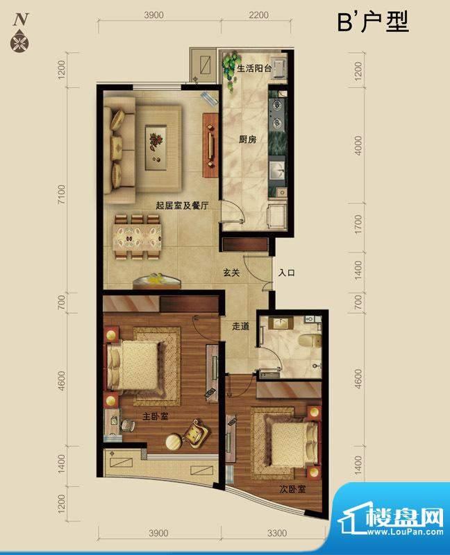 世藏168B`户型 2室2厅1卫1厨面积:110.00平米