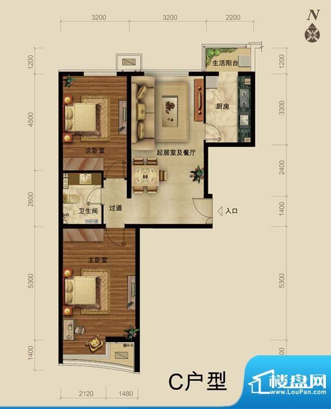 世藏168C户型 2室2厅1卫1厨面积:98.00平米