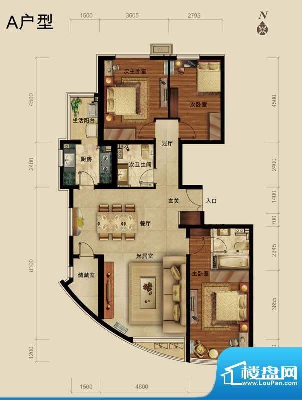 世藏168A户型 3室2厅2卫1厨面积:147.00平米